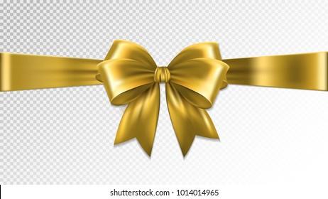 Shiny gold satin ribbon on transparent background. Vector