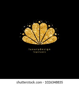 Shiny gold sea shell silhouette isolated on black background. Golden glitter glow shell logotype design. Sparkly ocean element for print, web design, cover, greeting card, invitation