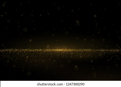 Shiny golden glitter dust effect, sparkling particles abstract luxury background