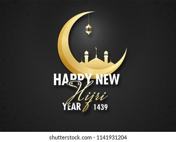 Shiny golden mosque on crescent moon for Happy New Hijri Year celebration concept background.
