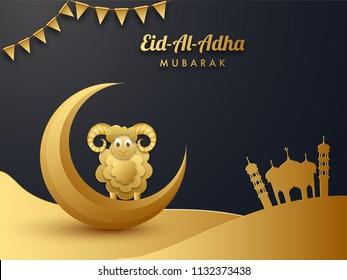 Shiny golden paper cut style illustration of sheep with crescent moon and mosque on black background decorated with bunting flag for Eid Al Adha festival celebration.