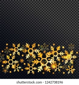Shiny golden snowflakes and stars decorated on black png background with space for your text.