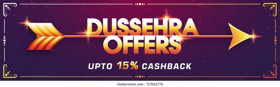 Shiny Golden text Dussehra Offer on purple background, Creative Sale social media banner design.
