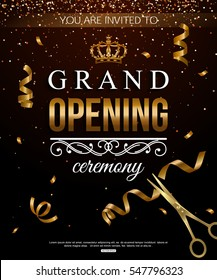 Shiny Grand Opening background with ribbon, confetti and scissors. Vector illustration