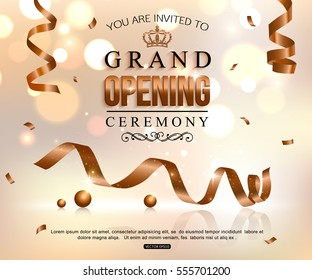 Shiny grand opening celebration banner with gold ribbon, ball. Vector illustration
