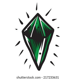 Shiny green diamond with detailed highlights and shadows