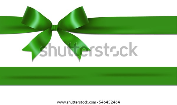 Shiny green ribbon bow isolated on white background with copy space. For using special days.