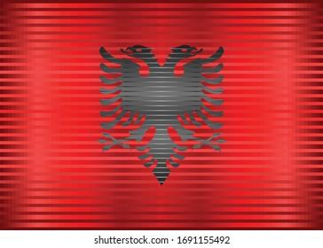 Shiny Grunge flag of the Albania - Illustration,  Three dimensional flag of Albania
