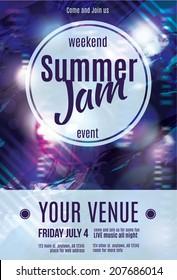 Shiny grunge summer jam flyer template design