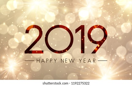 Shiny Happy New Year 2019 poster with gold fireworks. Vector background.