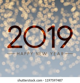 Shiny Happy New Year 2019 card with bokeh backdrop. Vector background.