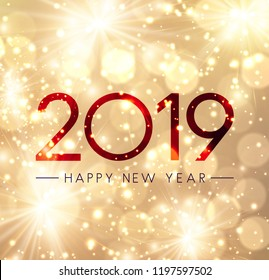 Shiny Happy New Year 2019 card with gold fireworks. Vector background.