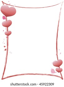 Shiny heart and paint border on white background