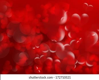 Shiny hearts bokeh light Valentine's day background. EPS10
