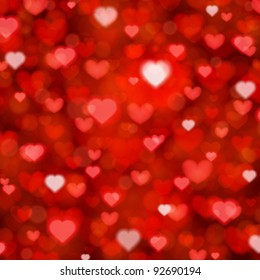 Shiny hearts bokeh light Valentine's day background eps 10