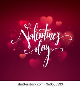 Shiny hearts bokeh Valentine day background. Vector illustration EPS10