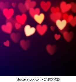 Shiny hearts bokeh Valentine's day background