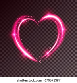 Shiny heart-shaped frame on transparent background. Holiday vector illustration