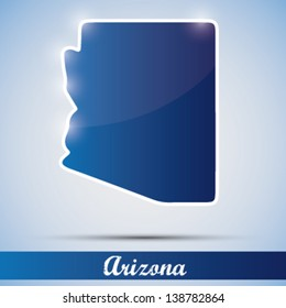 shiny icon in form of Arizona state, USA