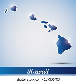 shiny icon in form of Hawaii state, USA