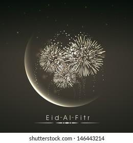 Shiny illustration of crescent of moon with fireworks in the night on occasion of muslim community festival Eid Al Fitr (Eid Mubarak).