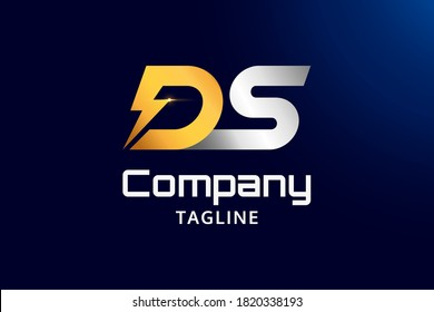 Shiny Initials DS or Letter DS Gold and Silver Logo Design