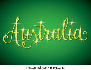 Shiny iridescent glitter Australia text in vector format.