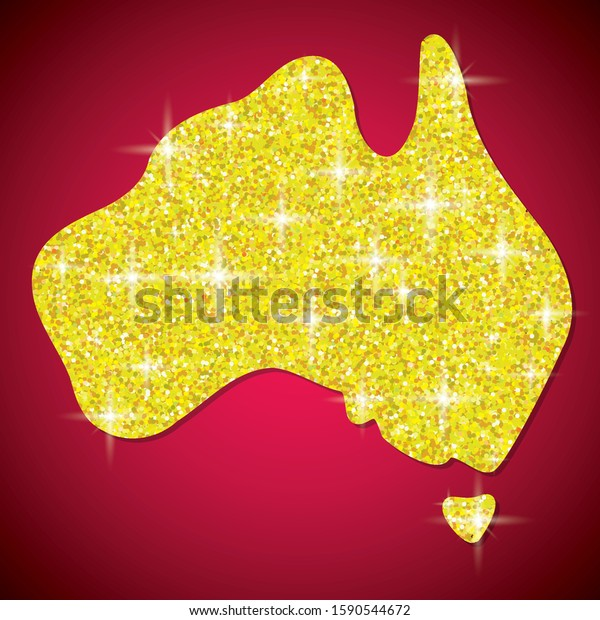 Shiny iridescent glitter Australian map in vector format.