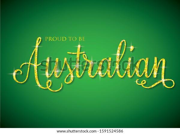 Shiny iridescent glitter Australian text in vector format.