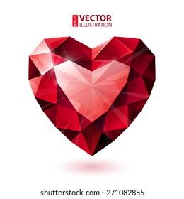 Shiny isolated red ruby heart shape on white background. RGB EPS 10 vector illustration