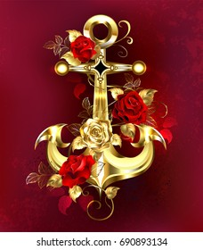 Shiny jewelry anchor, wrapped in red and gold roses with golden stems and leaves.