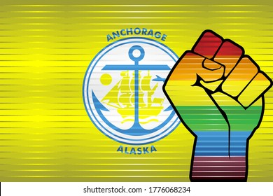 Shiny LGBT Protest Fist on a Anchorage Flag - Illustration,  Abstract grunge Anchorage Flag and LGBT flag