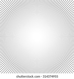 Shiny lights, abstract black & white line art background. Vector illustration.