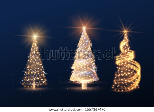 Shiny magic Christmas tree collection vector element for holiday festive background. EPS10
