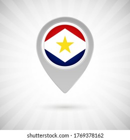 Shiny map pin with flag of Saba country. Abstract map marker with flag over classic background