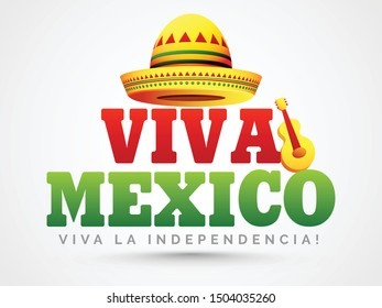 Shiny Mexico Independence day vector illustration of hat and guitar