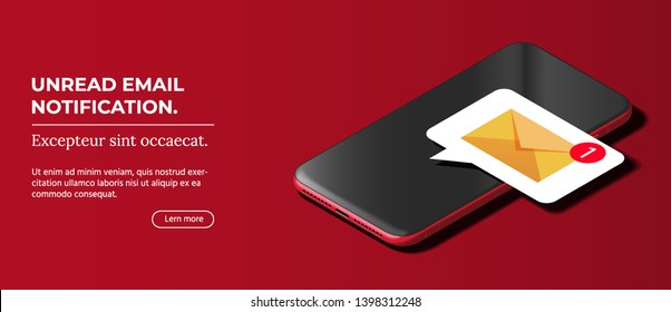 Shiny Mobile Cellphone with Notification of a New Email on the Screen. Modern Smart Phone Lies on Smooth Dark Red Surface in Isometric View. Realistic Vector Illustration of Smartphone.