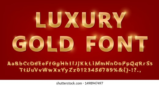 Shiny modern gold font isolated on red ambient background. Vintage golden numbers and letters with shadows. Detailed 3d alphabet. Typography yellow gold bold mockup. Anniversary letters. Vector