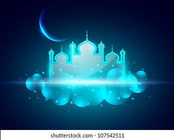 Shiny Mosque or Masjid  with moon on beautiful blue background. EPS 10.
