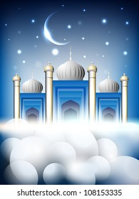 Shiny Mosque or Masjid on beautiful shiny blue background with moon. EPS 10.