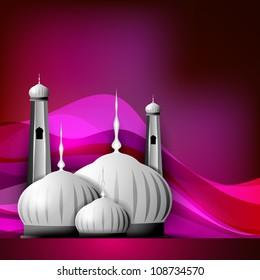 Shiny Mosque or Masjid on beautiful shiny pink background. EPS 10.