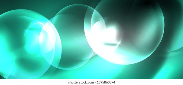 Shiny neon color light with circles abstract background, vector design