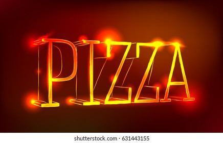 Shiny neon sign pizza. Vector illustration, invitation, banner, poster