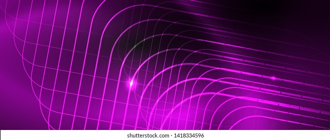 Shiny neon techno template. Neon lines background, 80s style laser rays. Vector