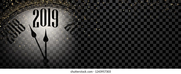 Shiny New Year 2019 banner with blurred clock and gold lights. Vector transparent background.