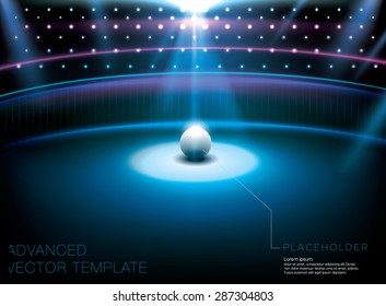 Shiny night club - studio stage with bright light spot and white globe placeholder. Advanced vector template