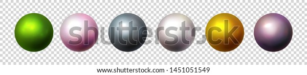 Shiny pearl isolated on transparent background. Multicolored orbs, spherical balls and 3D circle glass buttons. Glossy sphere, icons set. Vector objects for decoration. Illustration
