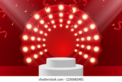 Shiny pedestal stage podium with lighting, Stage Podium Scene with for Award Ceremony on red Background. Vector illustration