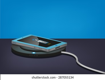 Shiny Phone on a Wireless Charge Blue Background. Editable Clip art.