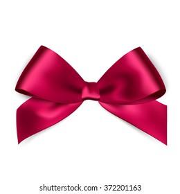 Shiny pink satin ribbon on white background. Vector